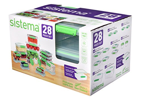 Sistema KLIP IT Accents Collection Food Storage Containers, Clear/Green, 28-Piece Set