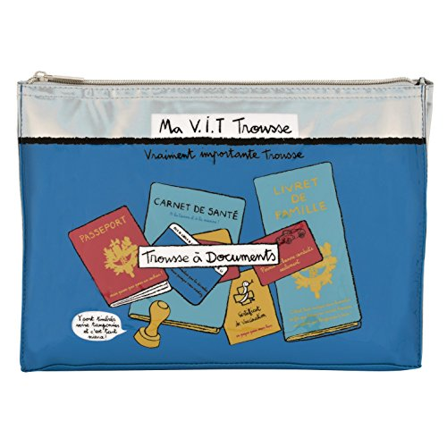 Derrière la porte - Estuche de almacenamiento de documentos, diseño de Valérie Nylin, color azul