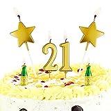 Velas de Estrella Dorada Velas de Número de Pastel Topper de Vela de Botella de Vino Topper de Fiesta de Tarta de Feliz 21 Cumpleaños para Favores de Fiesta de Cumpleaños