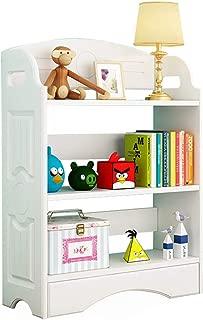 白い木製の子供用本棚、多層の開いた本棚と子供用のおもちゃの収納ラック、省スペースの本の陳列ケース、本、CDラック、ホームオフィスのファイルラックを収納できますZDDAB