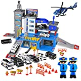 Toysical Police Car Toys for Boys - Matchbox Cars Playsets - Police Toys with Matchbox Track, Garage, 6 Police Car Toy Vehicles, 2 Police Men, 1 Helicopter - Best Gift for Boys 3, 4, 5 Year Old Kids