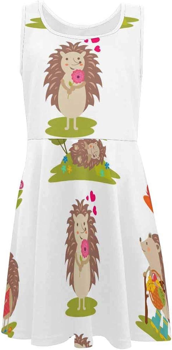 InterestPrint Kids Sleeveless Casual Summer Dress for Girls Happy Halloween Spider Webs (2T-XL)