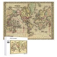 INOV 探検家 海上ルートが付いている世界地図 ジグソーパズル 木製パズル 500ピース キッズ 学習 認知 玩具 大人 ブレインティー 知育 puzzle (38 x 52 cm)
