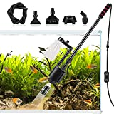 AQQA Aquarium Gravel Cleaner, 5-in-1 Electric Fish Tanks Gravel Vacuum Cleaner Set for Absorb Dirt, Change Water, Wash Sand, Water Shower, 20W, 320GPH