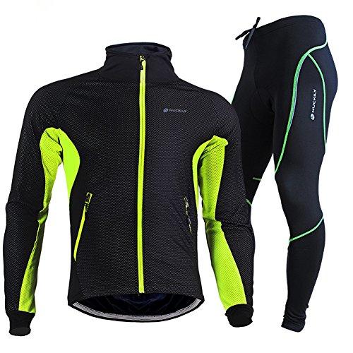 TollMode Herren Fahrradbekleidung Set Lang Winter Radjacke und Fahrradhosen (M, Grün)