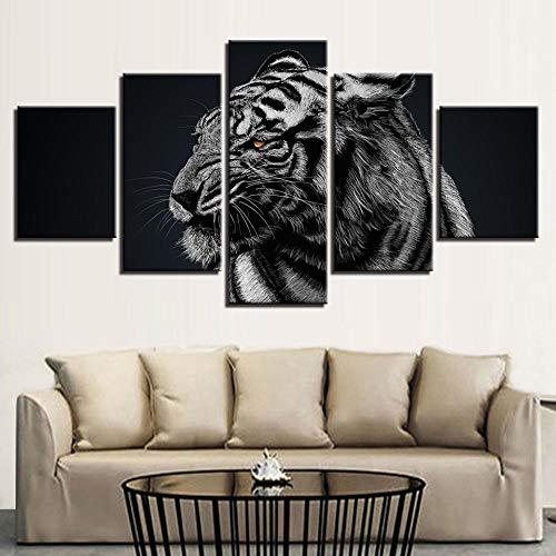 sdfgea Cuadros de Lienzo Modernos Arte de Pared Impreso en HD sin Marco 5 Piezas Bosque Animal Tigre Sala de Estar Decoración del hogar Pinturas Carteles