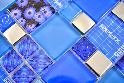 Handmuster Transparentes Crystal Mosaik Glasmosaik silber blau Wand Fliesenspiegel Küche Dusche Bad MOS88-0417_m