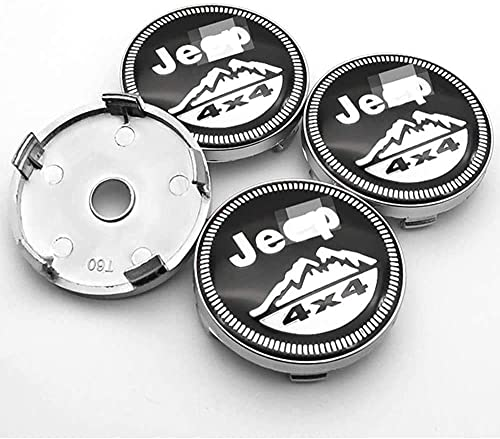 LIBAOBAO 4 Piezas Coche Tapas Centrales Rueda para Compass Jeep Wrangler Renegade,Tapas Centrales para Llantas,Tapacubo Tapas Centrales Bujes Emblema Coche Accessories,60mm