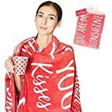 Gifts for Her I Love You Blanket in Gift Packaging I Anniversary, Birthday Gift for Girlfriend, Wife, Family I Gifts for Women I Red Throw 50' x 60'