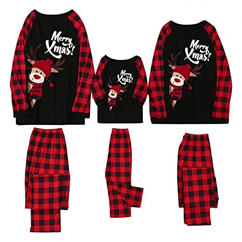 Familie Weihnachten gestreift Schlafanzug lang Rundhals Xmas Pullover Pyjama Set, Langarm Shirt und Pyjamahose Familien Weihnachten Pyjamas Set Schlafanzug Jumpsuit Hoodie