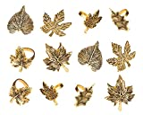 Harvest Fall Leaf Napkin Rings Assorted - Set of 12 for Christmas, Dinner Parties, Wedding...