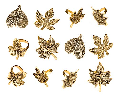 Harvest Fall Leaf Napkin Rings Assorted - Set of 12 for Christmas, Dinner Parties, Weddings, Thanksgiving, or Everyday Use - Set Your Style with Daily Use Table Decor Accessories - Antique Gold