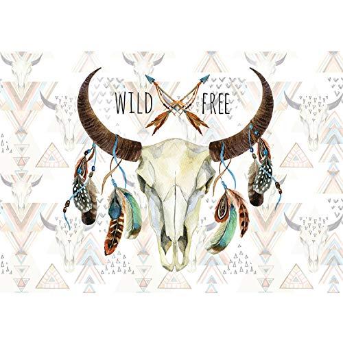 Vlies Fototapete PREMIUM PLUS Wand Foto Tapete Wand Bild Vliestapete - Schädel Büffel Federn Indianer Wild - no. 3488, Größe:368x254cm Vlies