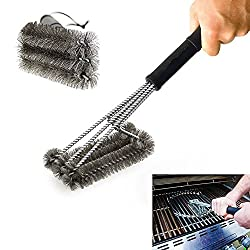 """EFFORTLESS CLEANING: With a unique design, this 18"""" long barbecue brush has three brushes in one, each with its own equivalent stroke. RECOMMENDED FOR MOST GRILL TYPES: It is a universal grill brush that can be used with multiple gas grill, charcoal ..."""