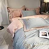 Bedding-LZ Funda de edredón de Lino,Lavar la Seda es un Juego de Luminosos de Bordado de Lujo de Cuatro Juegos de Ropa de Cama de Verano-mi_1,8 m de Cama (4 Piezas) (20 200 200 * 230cm)