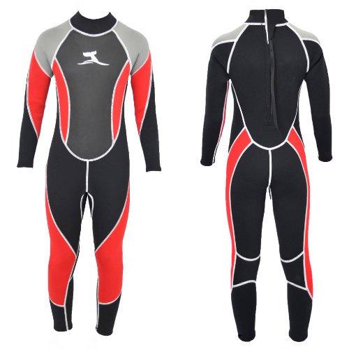 Kinder Neoprenanzug Lang Größe 116 - 122 für ca. 6 - 7 Jahre Surfanzug in Schwarz Rot mit Mash Skin