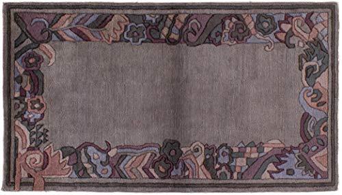 Teppich Tibeter Modern ca. 95 x 165 cm Grau handgeknüpft Schurwolle Modern hochwertiger Teppich