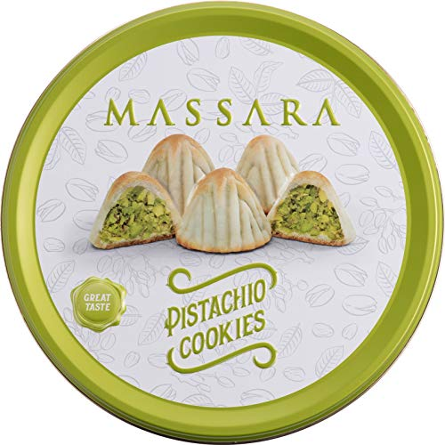 MASSARA Pistachio Cookies in der Metalldose - Cookies gefüllt mit Pistazien Kekse (320 GR)