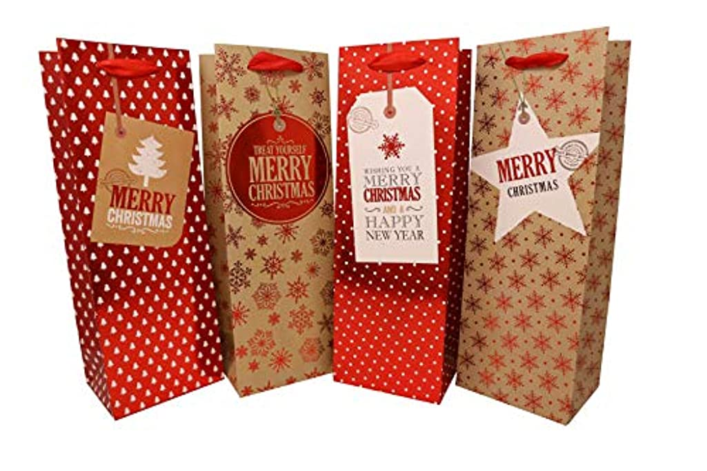 Holiday Wine, Liquor or Beer Gift Bags - 12 Pack Bulk Variety Set - Includes 4 Cute Red and Gold Designs with Printed Gift Tags - Bottle Totes for Christmas Presents - by Haute Soiree