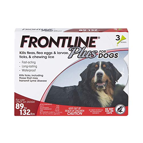FRONTLINE Plus Flea and Tick Treatment for Dogs Extra Large Dog 89132 Pounds 3 Doses