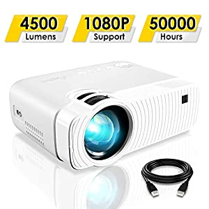 """ELEPHAS Projector, GC333 Portable Projector with 4500 Lumens and Full HD 1080p, 180"""" Display and 50000 Hours Lamp Life LED Video Projector, Compatible with USB/HD/Sd/Av/VGA for Home Theater, White"""
