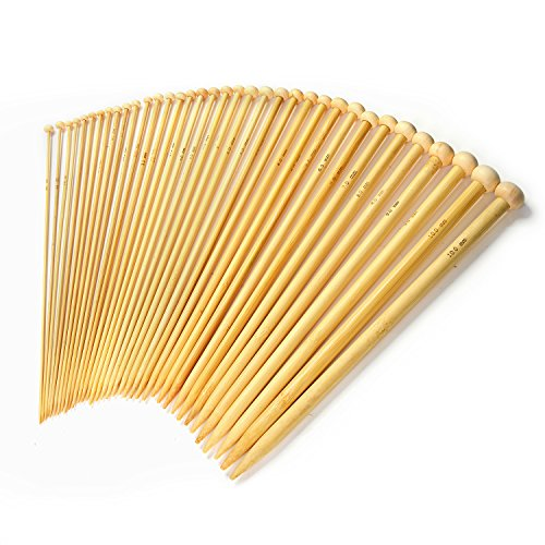 LIHAO 36 PCS Bamboo Knitting Needles Set (18 Sizes From 2.0mm to 10.0mm)