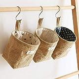 3 Pcs Bolsa de Almacenamiento para colgar, Lino y algodón bolsa de...