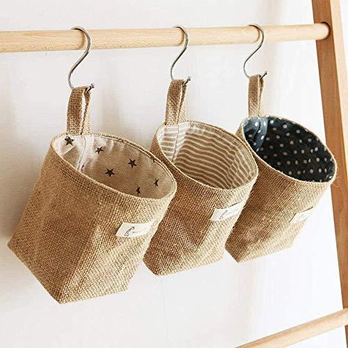 3 Pcs Bolsa de Almacenamiento para colgar, Lino y algodón bolsa de almacenamiento cesta plegable bolsa de almacenamiento cesta con asa, Organizador de almacenamiento con manija de cuerda de pequeño