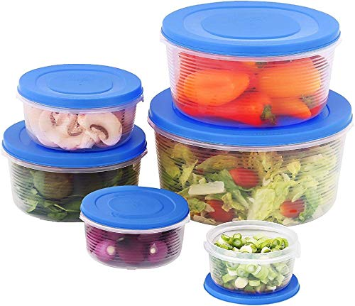 Mixing Bowl Set with Lids Kitchen Food Storage Containers Plastic Airtight Nesting Stackable Meal Prep 12 Piece 6 Bowls 6 Covers No Spill Leakproof Lightweight - for Baking Salad Picnic Blue