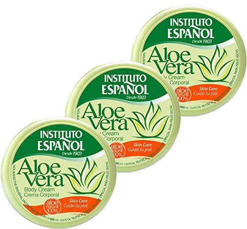3 x 400 ml Instituto Espanol Aloe Vera Körpercreme Gesichtscreme Handcreme 100% natürliches Aloe Vera Bodycreme