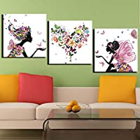 MMLFY 3 Cuadros consecutivos 40x40cmx3 Sin Marco Arte de Lienzo Impreso en la Pared Arte Mariposa Amor imágenes Pinturas para Dormitorio 3 Piezas Abstracto Chica Amor corazón Cartel Moderno
