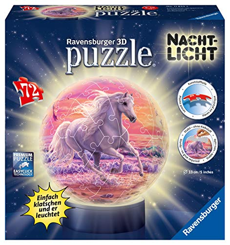Ravensburger 3D Puzzle Nachtlicht Pferde am Strand - Puzzleball für Kinder ab 6 Jahren, LED Nachttischlampe mit Klatsch-Mechanismus, Schlummerlicht