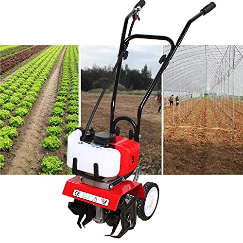 52cc Tiller Cultivator Gas Powered ,Single-Cylinder Gasoline Engine Rototiller Gas Powered, Air-Cooled 2 Stroke Garden Mini Tiller Cultivator,1.9KW Cultivated Land Reclamation Micro Tillage Ripper