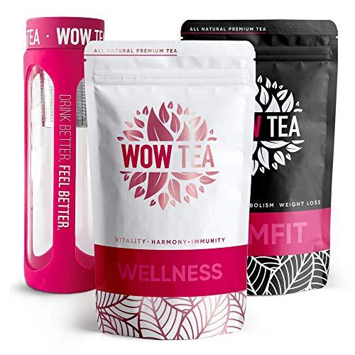 WOW TEA Kit Purificador: 21 Dias Detox Té | Té Adelgazante Para Bajar de Peso | Mezcla de Té de Hierbas Orgánicas de Desintoxicación, Control de Perdida de Peso | Botella de Infusor | 300g, Made in EU