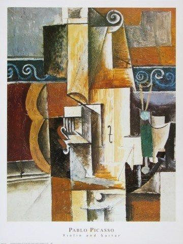 Alu-Dibondbild Pablo Picasso - Violine und Gitarre - 56.0 x 71.2cm - Premiumqualität - Klassische Moderne, Kubismus, Stillleben, Musikinstrumente, Geige, Gitaarre, Ornamente, g.. - MADE IN GERMANY - ART-GALERIE-SHOPde