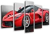 Cuadro Fotográfico Coche Deportivo, Ferrari Rojo Tamaño total: 165 x 62 cm XXL