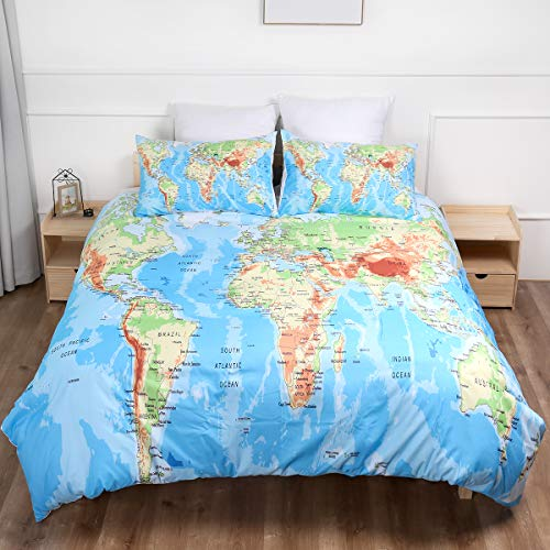 2 Pieces World Map Duvet Cover with 1 Pillowcases Printed Blue Ocean and Yellow Land Bedding Set with Zipper Closure Anti-allergic Duvet Cover For Kids Single 135 x 200cm