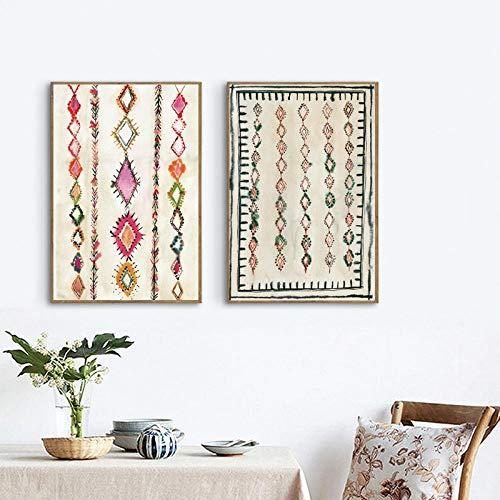 Liangzheng Pintura de Arte de Alfombra marroquí Cuadros de Pared de Boho, Lienzo ecléctico Neutro Abstracto Impresiones de Arte Cartel de Bohemia para el hogar Decoración de Pared 40x60cmx2 sin Marco