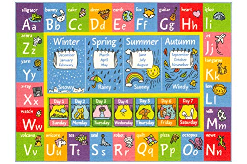 "KC CUBS Playtime Collection ABC Alphabet, Seasons, Months and Days of the Week Educational Learning Area Rug Carpet For Kids and Children Bedrooms and Playroom (3' 3"" x 4' 7"")"