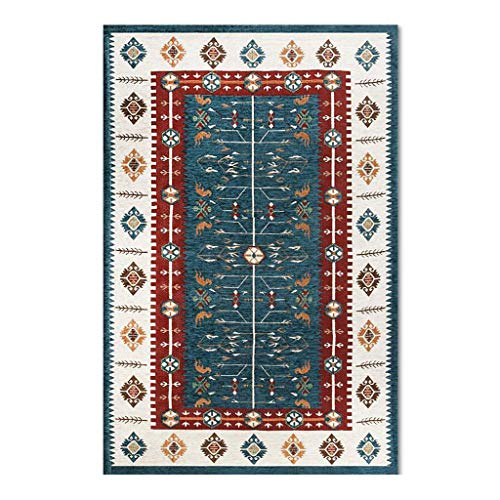 Paillassons Tapis De Salon Tapis Ethnique Nordique Tapis Sale Rectangulaire Tapis Absorbants Non Glissants Tapis Complet Tapis pour enfants (Color : Blue, Size : 140 * 200cm)