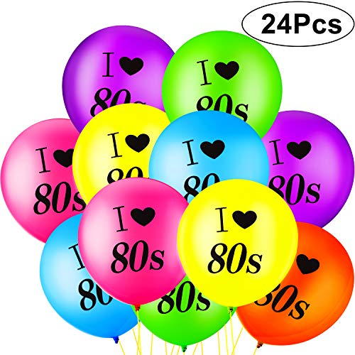 24 Piezas Globos de I Love 80s Globos de 80s de Látex de Colores Variados para Fiesta Cumpleaños Decoración de Tema Retro