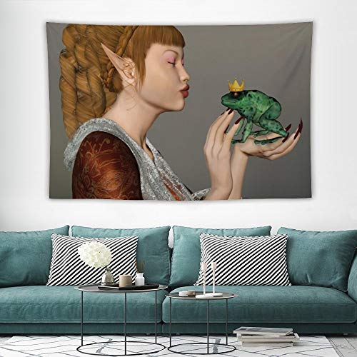 wonderr Fantasy Wall Hanging Tapestry Princess Kissing Frog Prince Three Dimensional Design Fairytale Characters Magic Multicolor W57x L74 Inches