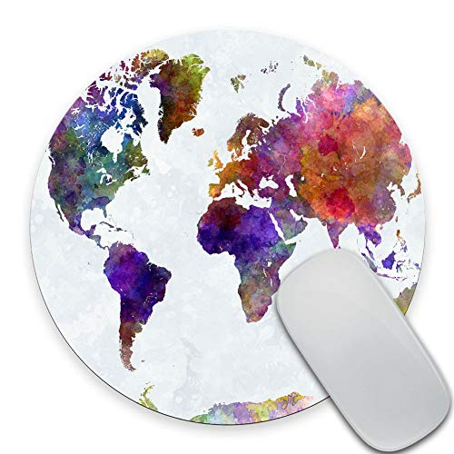 SSOIU Vintage Watercolor World Map Print Art Round Mouse Pad Cute Retro Old Map Circular Mouse Pads Cute Mat 7.87X7.87 Inch (200mmX200mmX3mm)