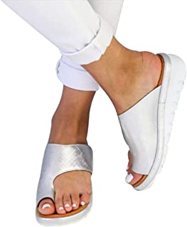 YUENA CARE Women Bunion Shoes Comfy Platform Flip Flop Toe Ring Wedge Sandal Slipper