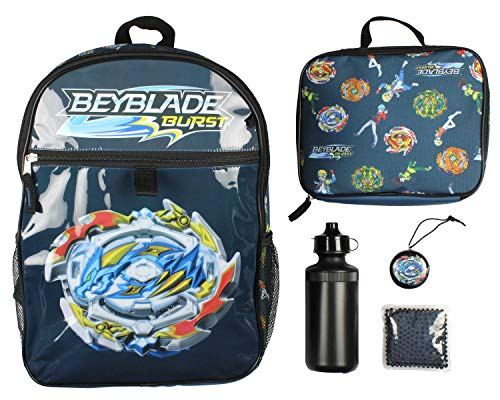 Beyblade Burst Spinner Tops Backpack Lunch Bag Water Bottle Ice Pack 5 PC Mega Set