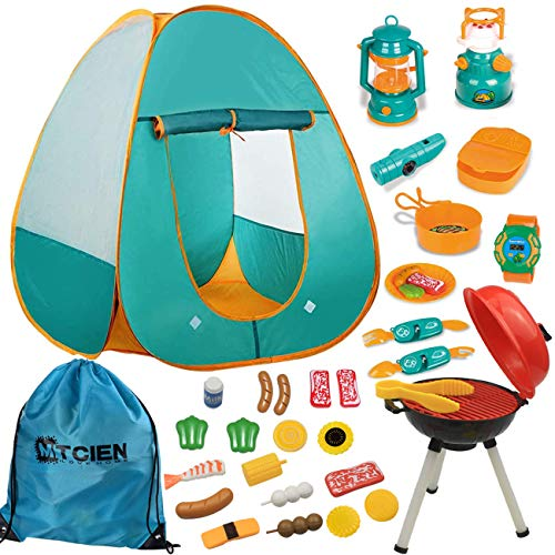 Mitcien Kids Camping Gear Set with Pop Up Play Tent for Kids Toddler Indoor Outdoor Toys Pretend BBQ Play Set for Boys Girls Camping Tools, 30 Pieces