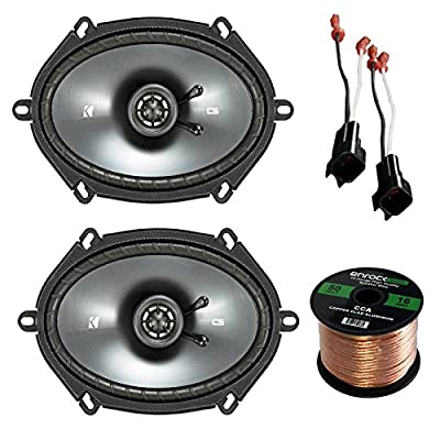 Car Speaker Set Combo of Kicker 40CS684 6x8 Inch 450W 2-Way Car Coaxial Stereo Speakers + 4 Metra 72-5600 Speaker Connector for Ford, Lincoln, Mazda, Mercury, + Enrock 50ft 16g Speaker Wire