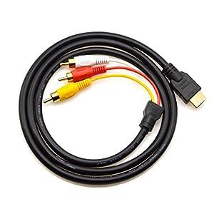 Chenduomi - Cable HDMI a RCA, 1,5 m HDMI macho a 3 RCA Video Audio AV Componentes Conversor Cable adaptador para HDTV