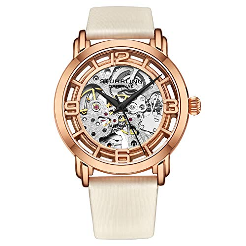 Stuhrling Original Watches for Women Automatic Watch - Skeleton Watches for Women - Self Winding Womens Dress Watch with Rose Gold Face and White Leather Watch Band Mechanical Wrist Watch for Woman