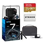 Gopro hero 7 (black) action camera w/dual battery charger and extra battery bundle 15 this k&m bundle includes all standard gopro accessories + limited 1-year warranty gopro hero 7 (black) action camera box includes: gopro hero7 black, rechargeable battery, the frame for hero7 black, curved adhesive mount, flat adhesive mount, mounting buckle, usb-c cable, limited 1-year warranty. Gopro hero 7 (black) action camera highlights: 4k60/50, 2. 7k120/100 & 1080p240/200, 12mp still photos with selectable hdr, hypersmooth video stabilization, direct live streaming to facebook live